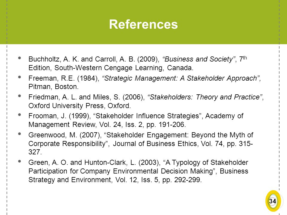 References Buchholtz, A. K. and Carroll, A. B. (2009), Business and Society , 7th Edition, South-Western Cengage Learning, Canada.