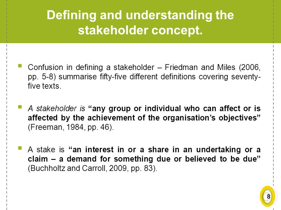 Defining and understanding the stakeholder concept.