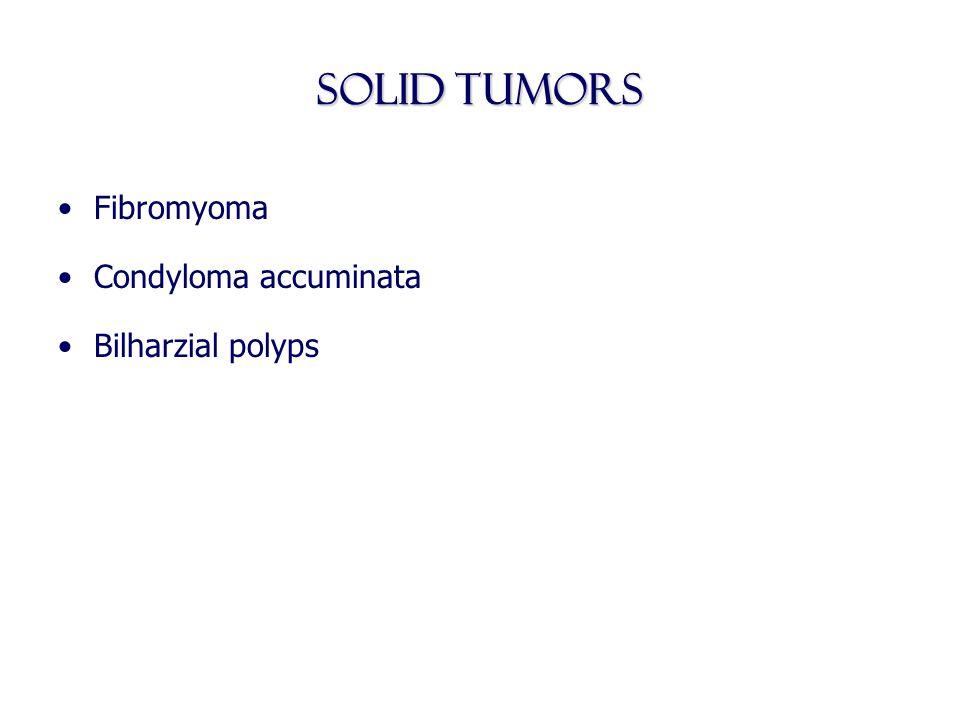 Solid Tumors Fibromyoma Condyloma accuminata Bilharzial polyps