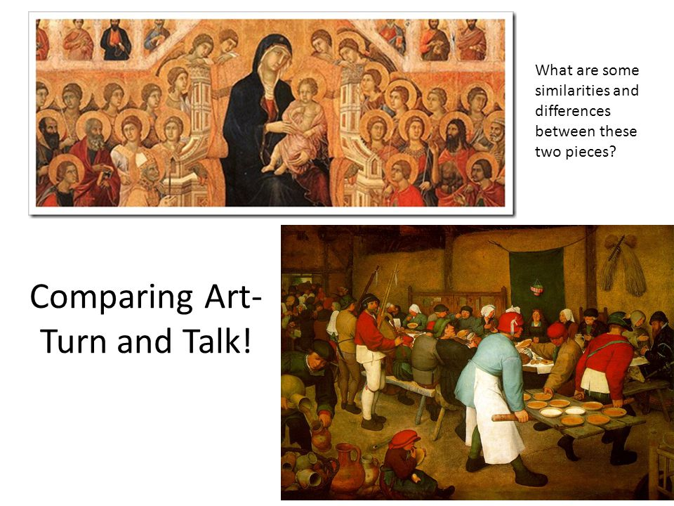 comparing medieval and renaissance paintings Renaissance art analysis  much of medieval art had illustrated important biblical themes and events by creating fantastical scenes that  paintings are.