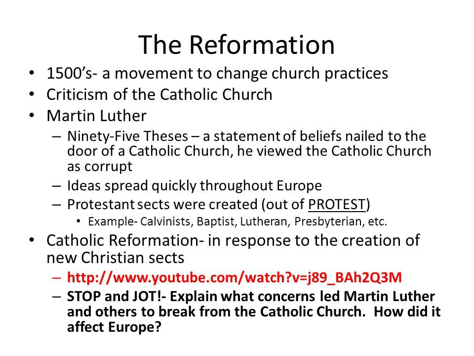 the european history and the protestant reformation in response to the catholic church As a response to the protestant reformation, the catholic church began a  program to enact  luther's and calvin's ideas spread across europe quickly   the protestant reformation was a major turning point in history.