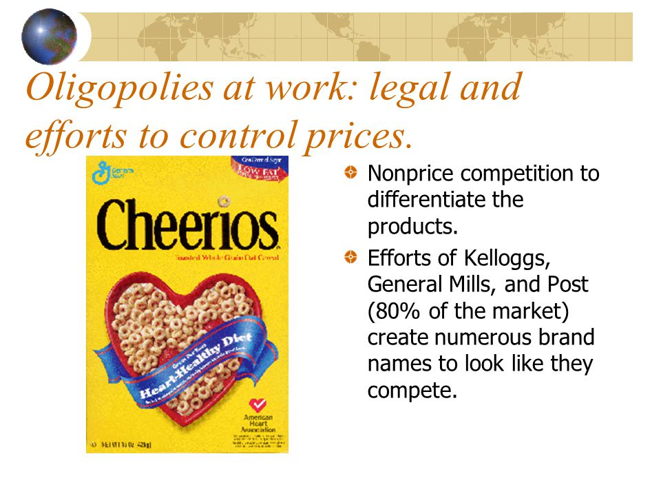 Oligopolies at work: legal and efforts to control prices.