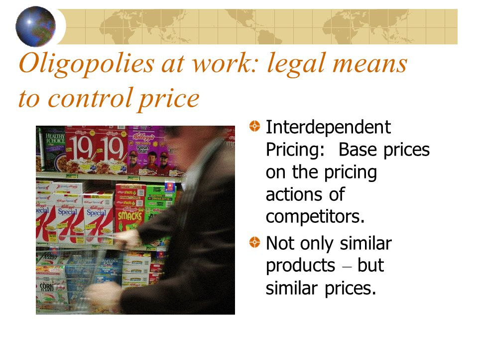 Oligopolies at work: legal means to control price
