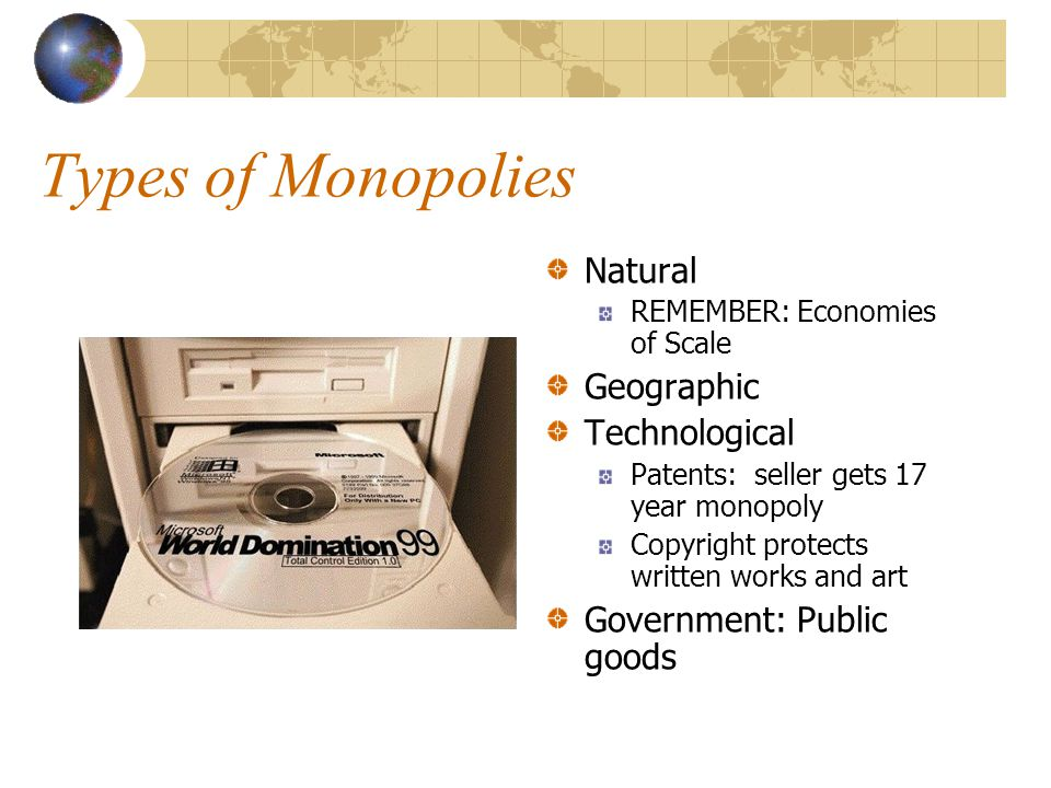 Types of Monopolies Natural Geographic Technological