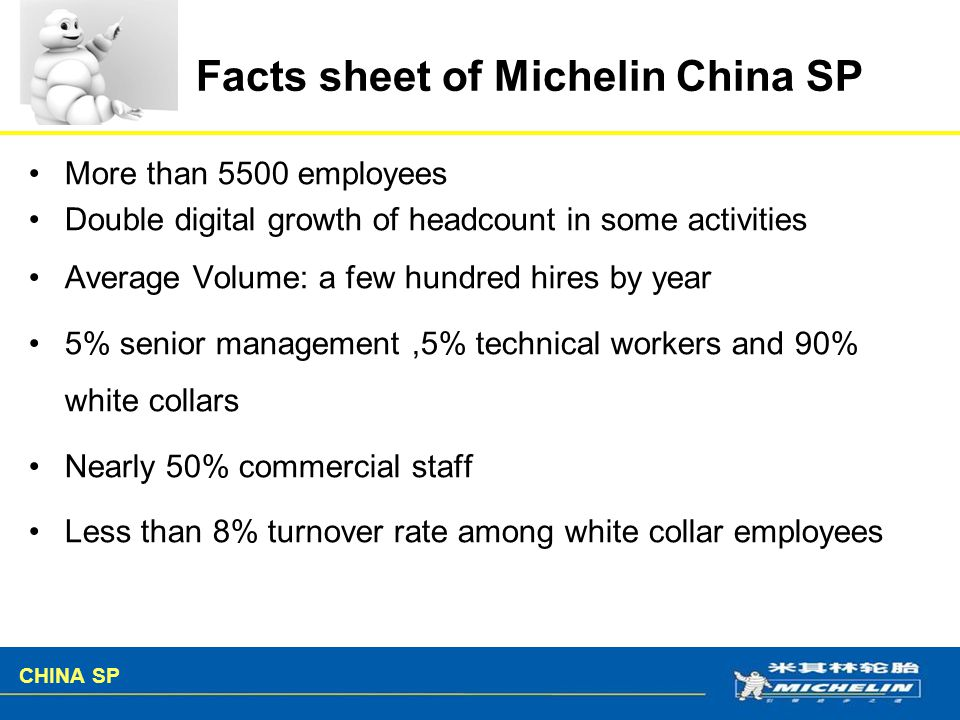 Facts sheet of Michelin China SP