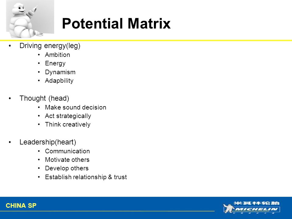 Potential Matrix Driving energy(leg) Thought (head) Leadership(heart)