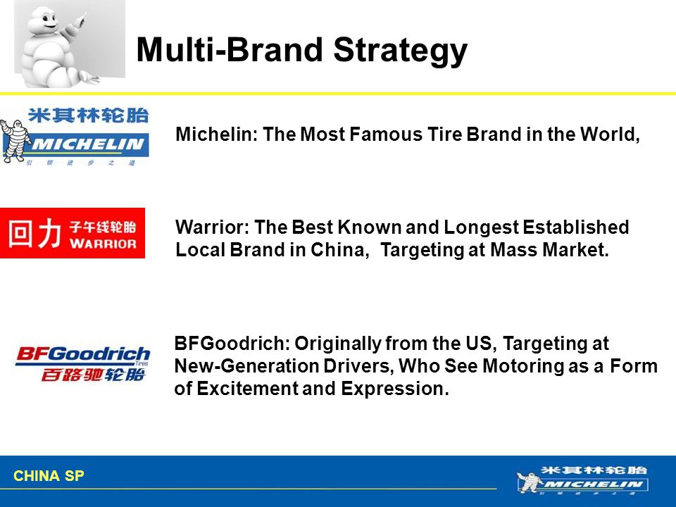Multi-Brand Strategy Michelin: The Most Famous Tire Brand in the World, Warrior: The Best Known and Longest Established.