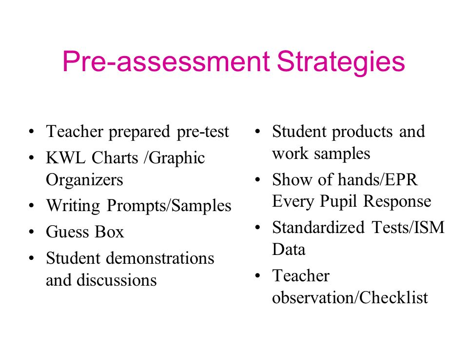 Pre-assessment Strategies