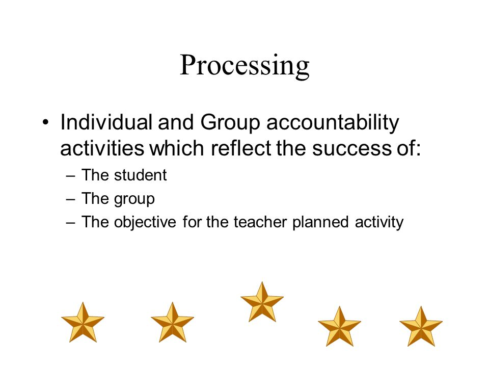 Processing Individual and Group accountability activities which reflect the success of: The student.