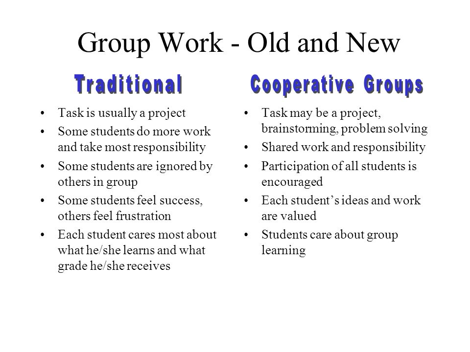 Group Work - Old and New Traditional Cooperative Groups