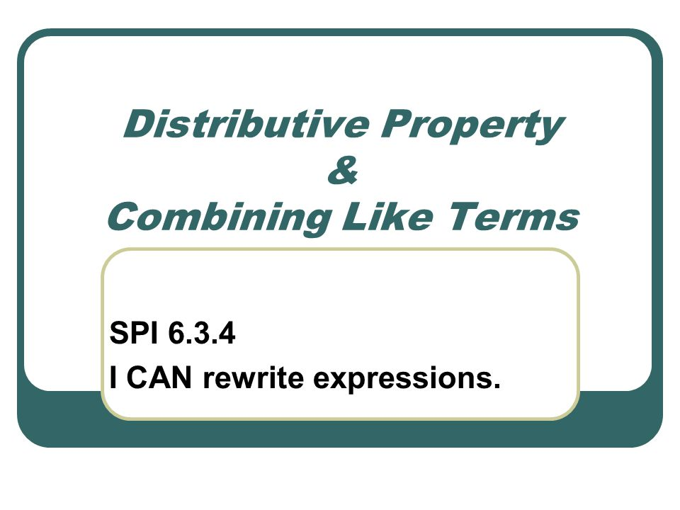 Expand Expressions Using the Distributive Property