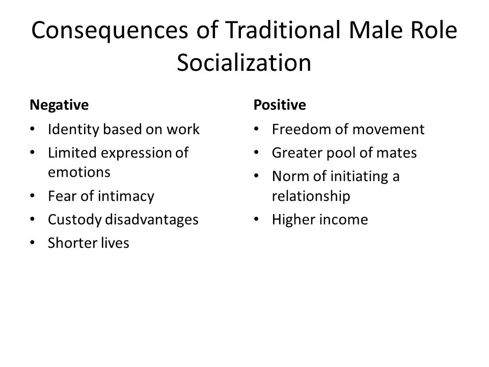 Consequences of Traditional Male Role Socialization
