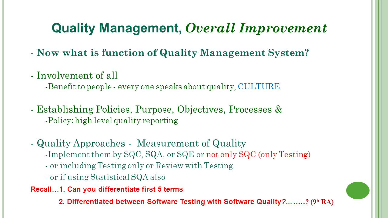 managing quality improvement Eight rules for managing quality:  why quality management quality improvement is integral to running a business the smart way.