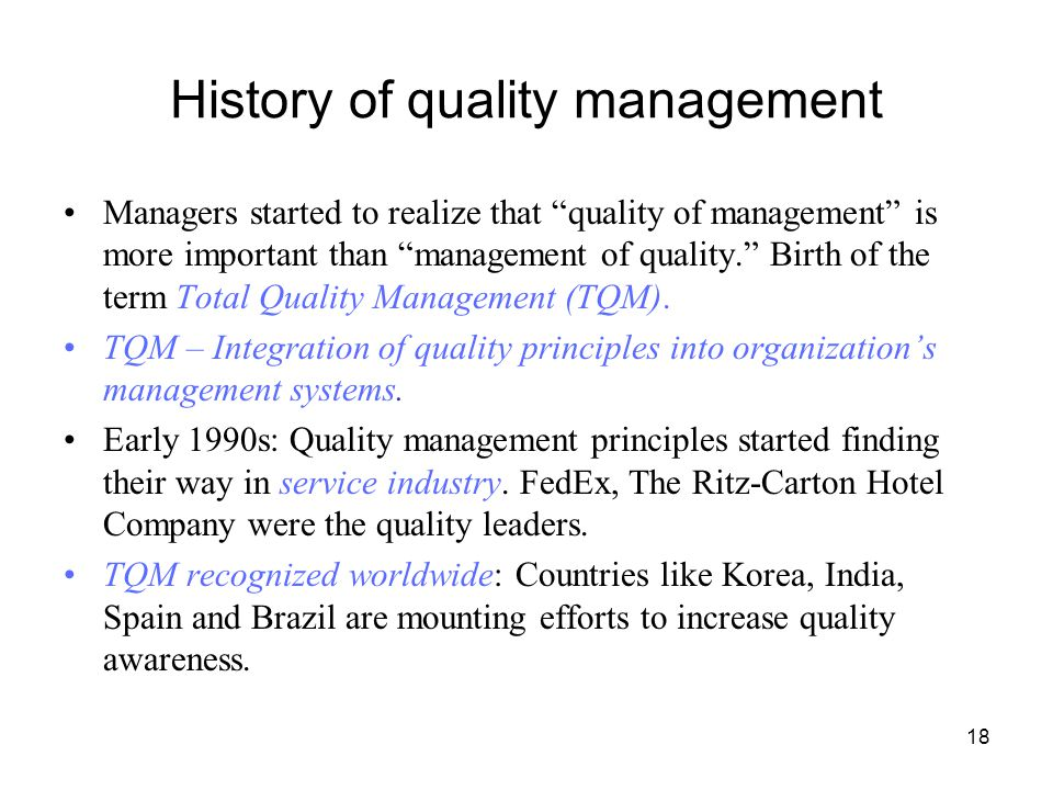 total quality management in service industry Relevance of total quality management  but also of after sales service, quality of management,  and the confederation of indian industry and exim bank.