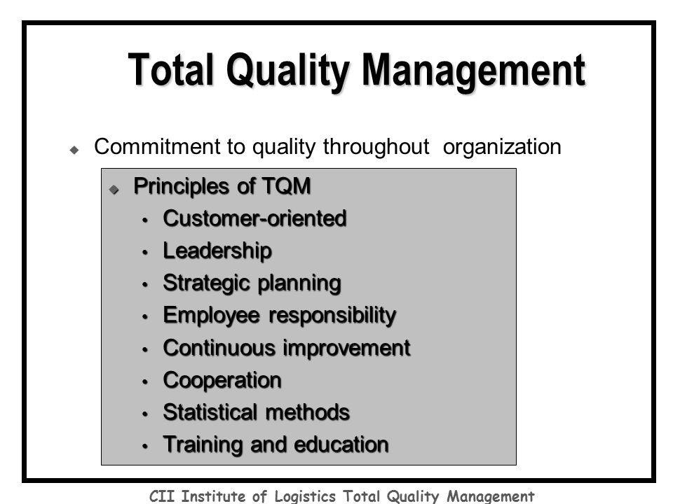 quality management in logistics pdf