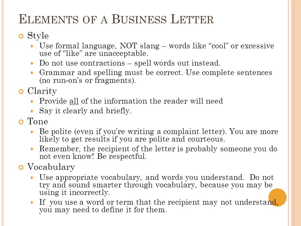 elements of business letter Learn quickly and easily how to create a business letter format  5 key elements of winning business proposals how to write a killer business proposal for clients.