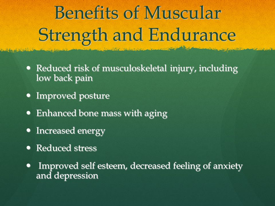 benefits of muscular endurance muscular strength This review article discusses previous literature that has examined the influence of muscular strength on various factors associated with athletic performance and the benefits of achieving greater .
