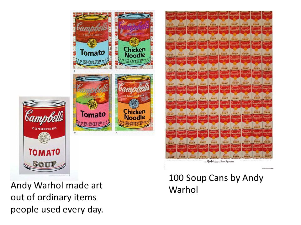 100 Soup Cans by Andy Warhol