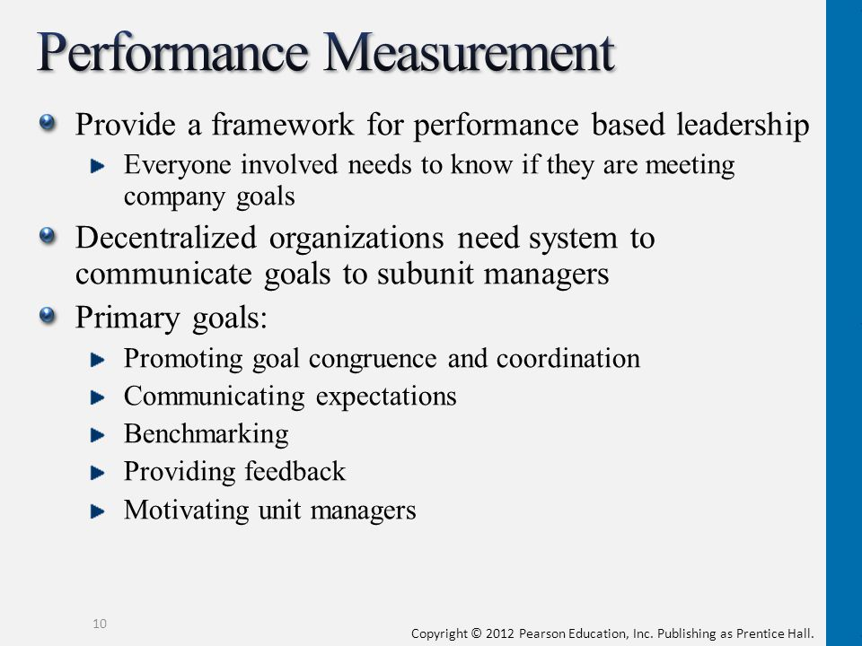 comparing company performance with goals and objectives Learn about the benefits of performance  but by breaking your top level objectives down into smaller  a company seeking to expand on the.
