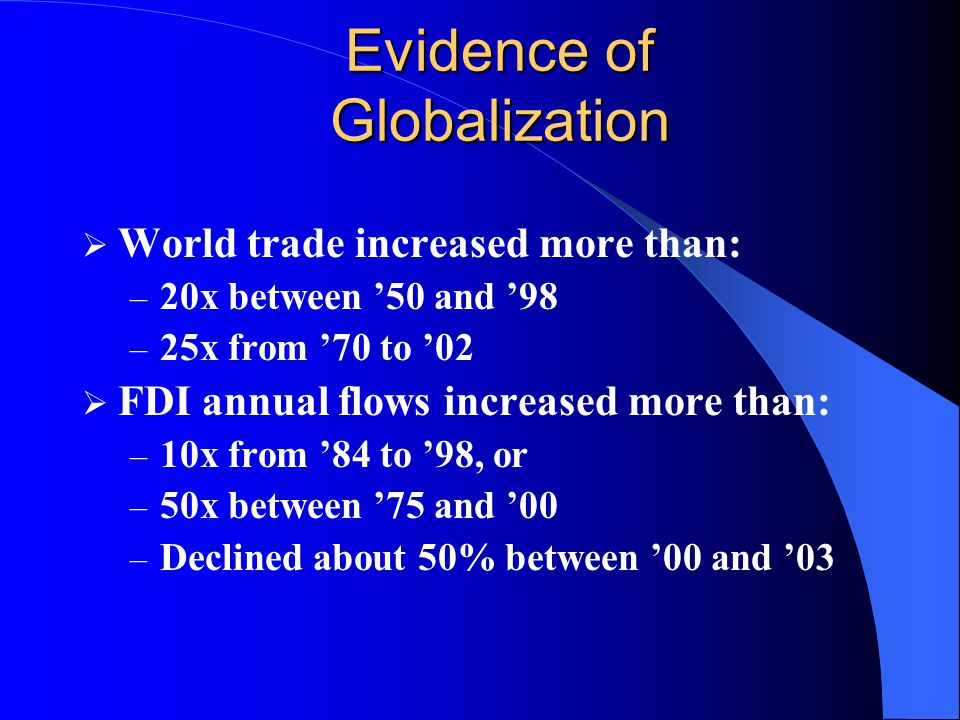 Evidence of Globalization