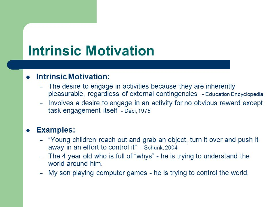 ch 6 feedback reinforcement intrinsic motivation Controlling aspects: rewards perceived to control a person decrease intrinsic motivation vs rewards that contribute to internal locus of causality increase intrinsic motivation informational apsects: rewards that provide info and + feedback about competence increase intrinsic motivation vs rewards that suggest the person is not competent.