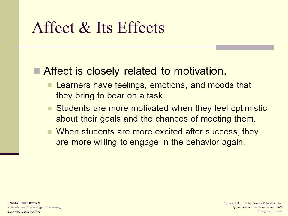 Affect & Its Effects Affect is closely related to motivation.