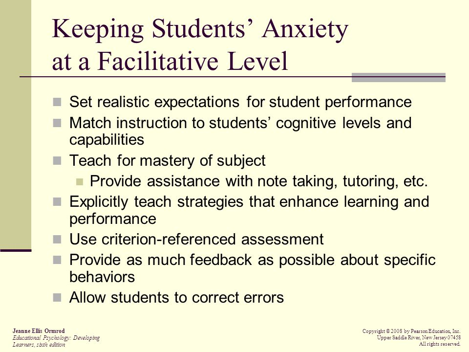 Keeping Students' Anxiety at a Facilitative Level