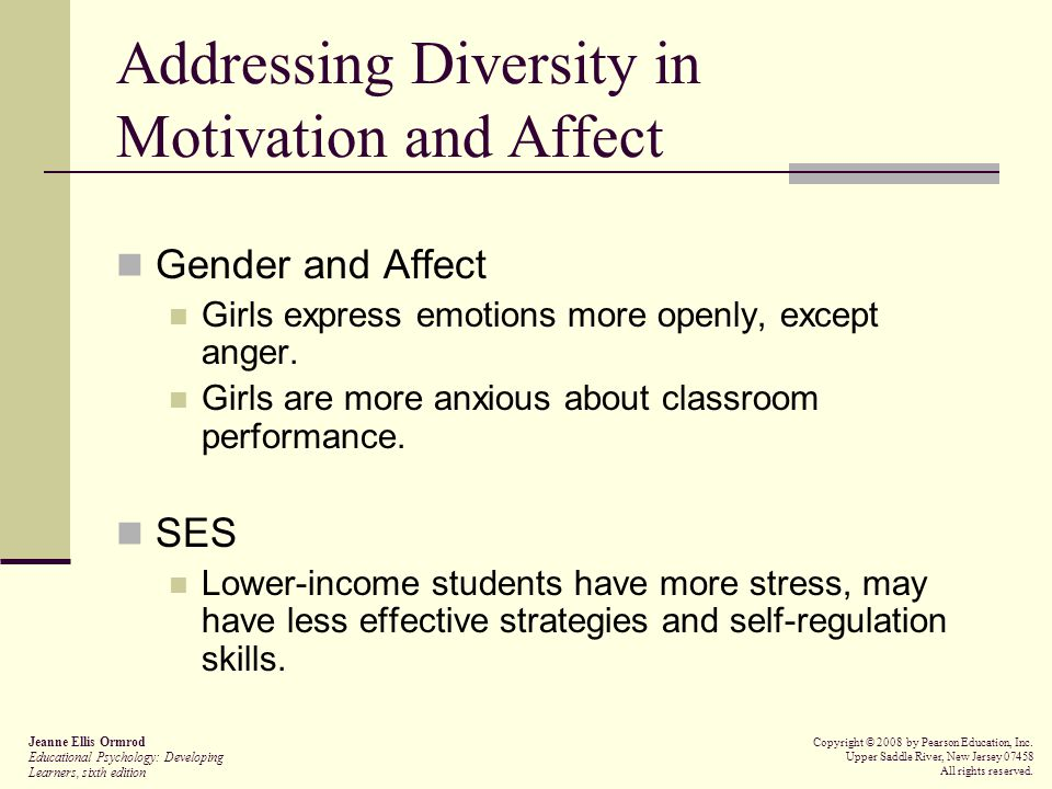Addressing Diversity in Motivation and Affect