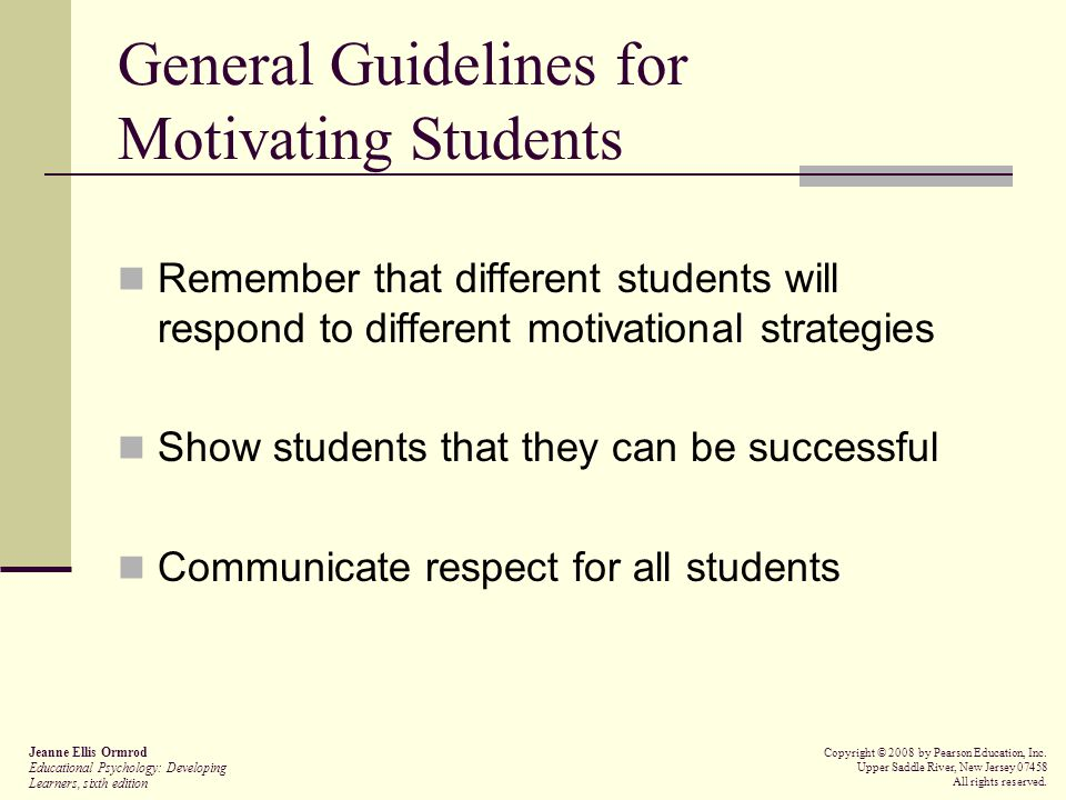 General Guidelines for Motivating Students