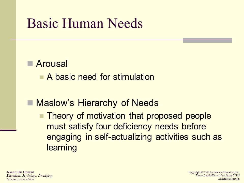 Basic Human Needs Arousal Maslow's Hierarchy of Needs