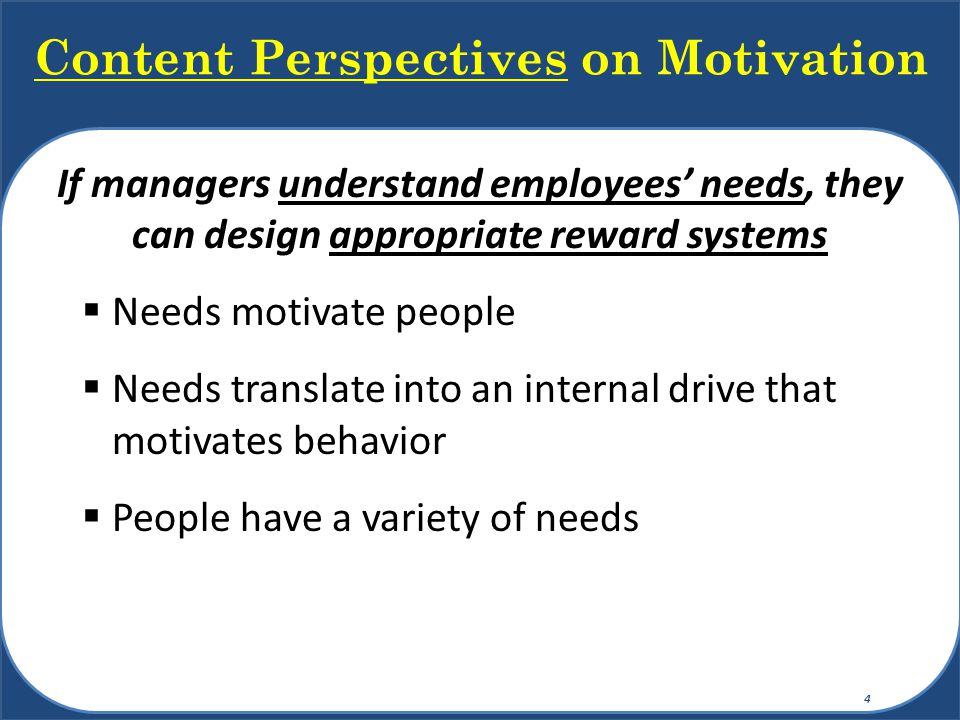 Content Perspectives on Motivation