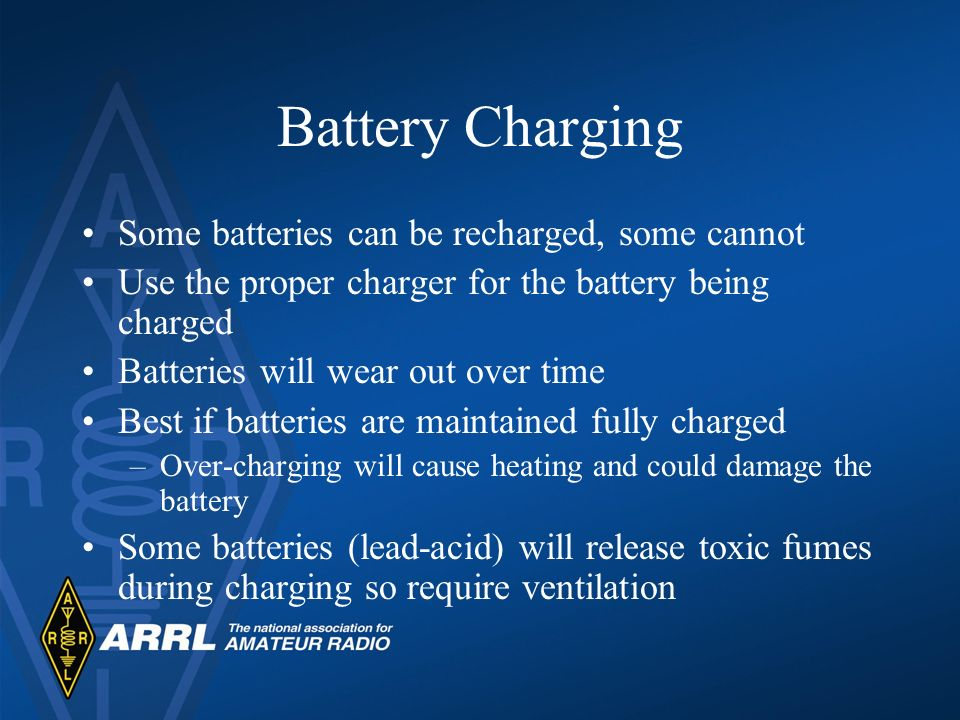 Battery Charging Some batteries can be recharged, some cannot