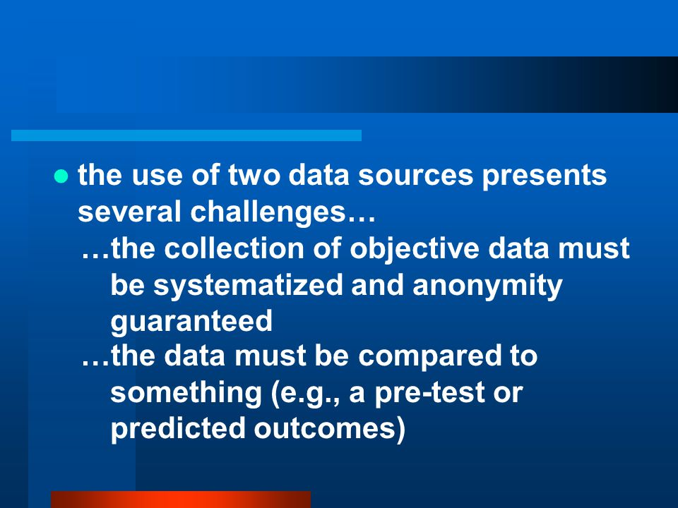 the use of two data sources presents several challenges…