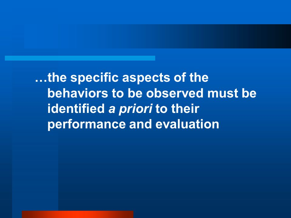 …the specific aspects of the behaviors to be observed must be identified a priori to their performance and evaluation