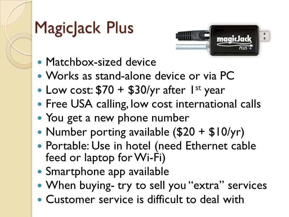 MagicJack Plus Matchbox-sized device
