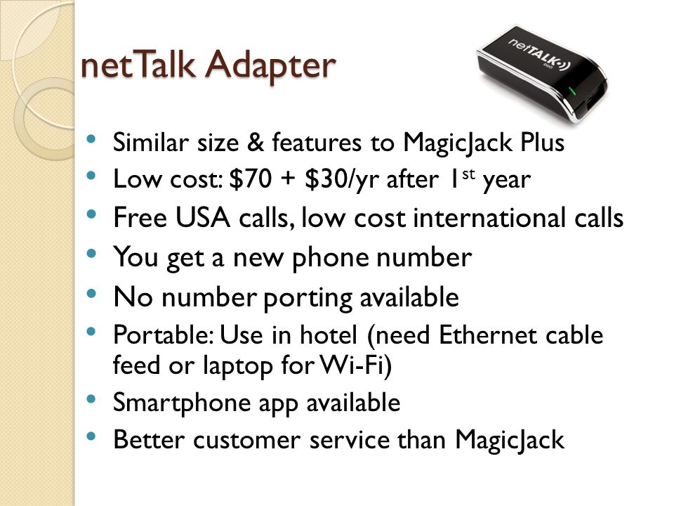 netTalk Adapter Free USA calls, low cost international calls