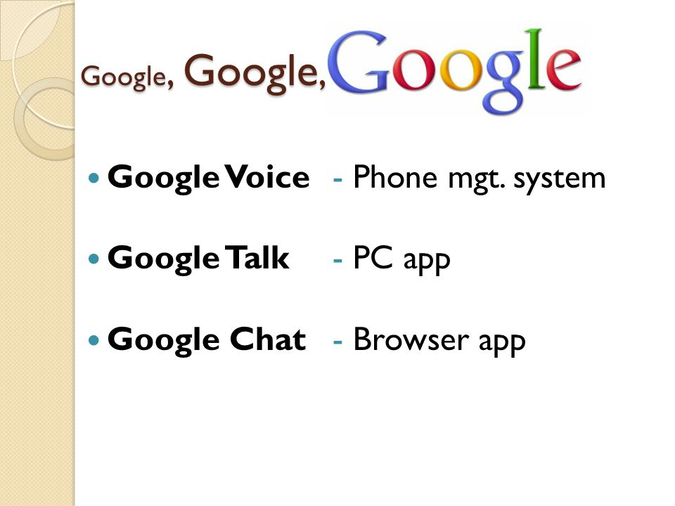 Google Voice Google Talk Google Chat - Phone mgt. system - PC app