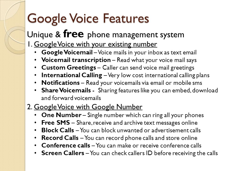 Google Voice Features Unique & free phone management system
