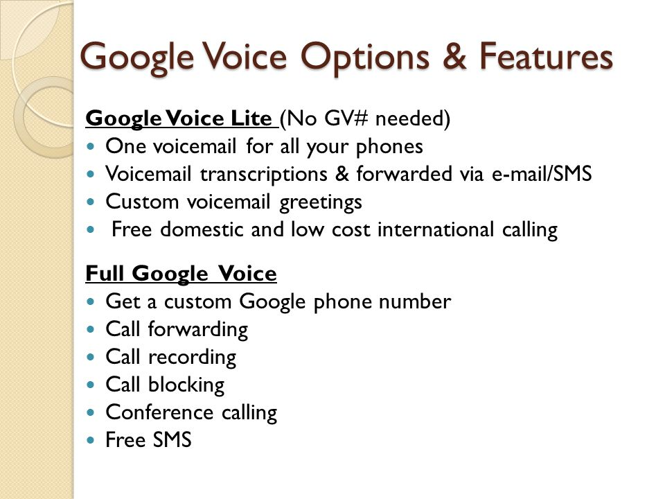 Google Voice Options & Features