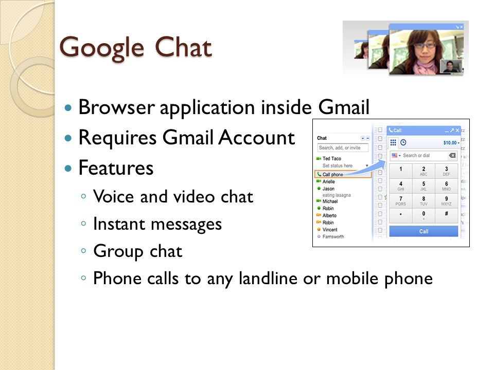 Google Chat Browser application inside Gmail Requires Gmail Account