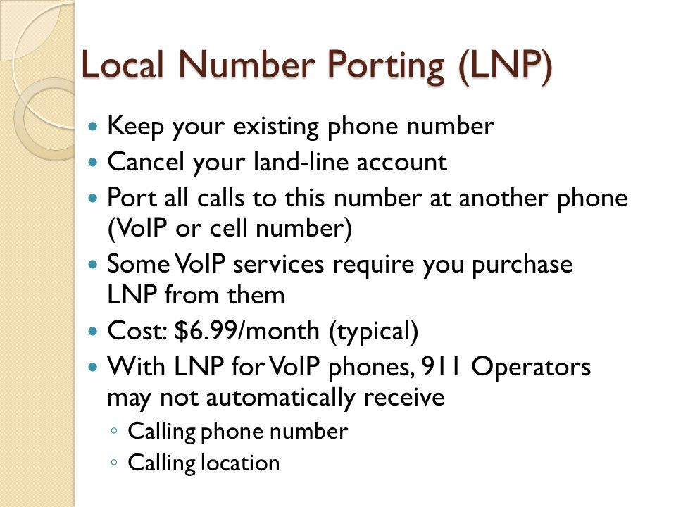 Local Number Porting (LNP)