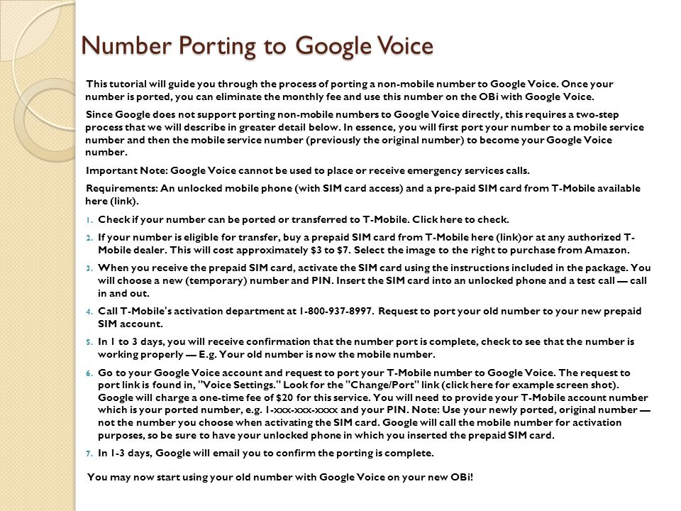 Number Porting to Google Voice