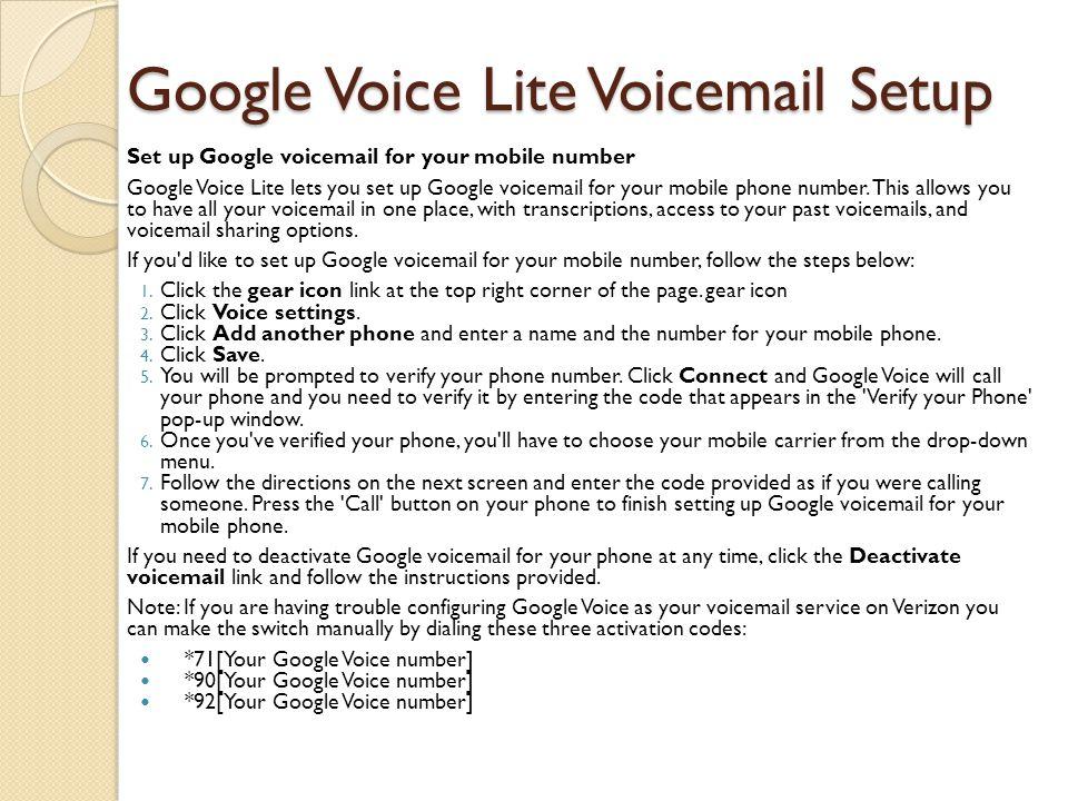 Google Voice Lite Voicemail Setup