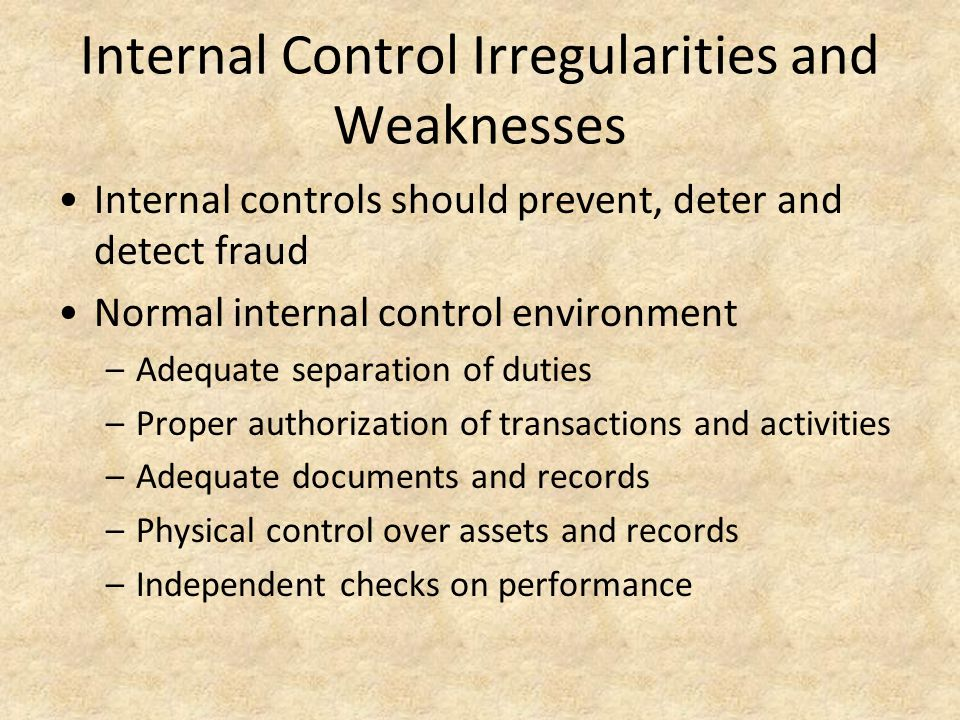 internal controls should be present to prevent fraud Effect of internal control on fraud detection and procedures should be put in place to prevent and are present in every situation of fraud.