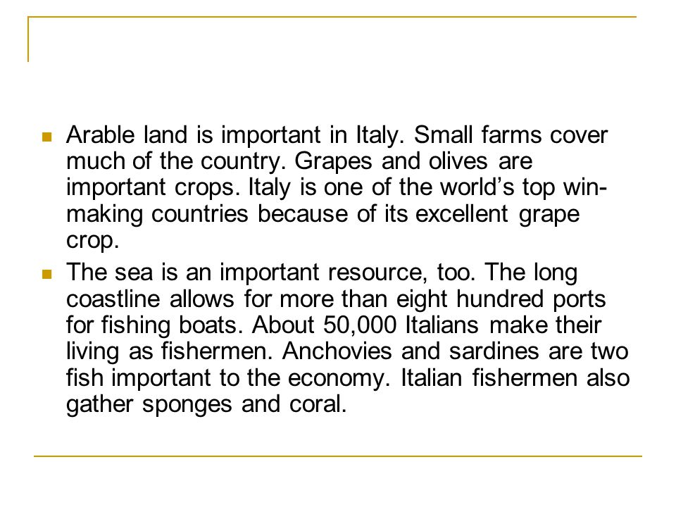 Arable land is important in Italy