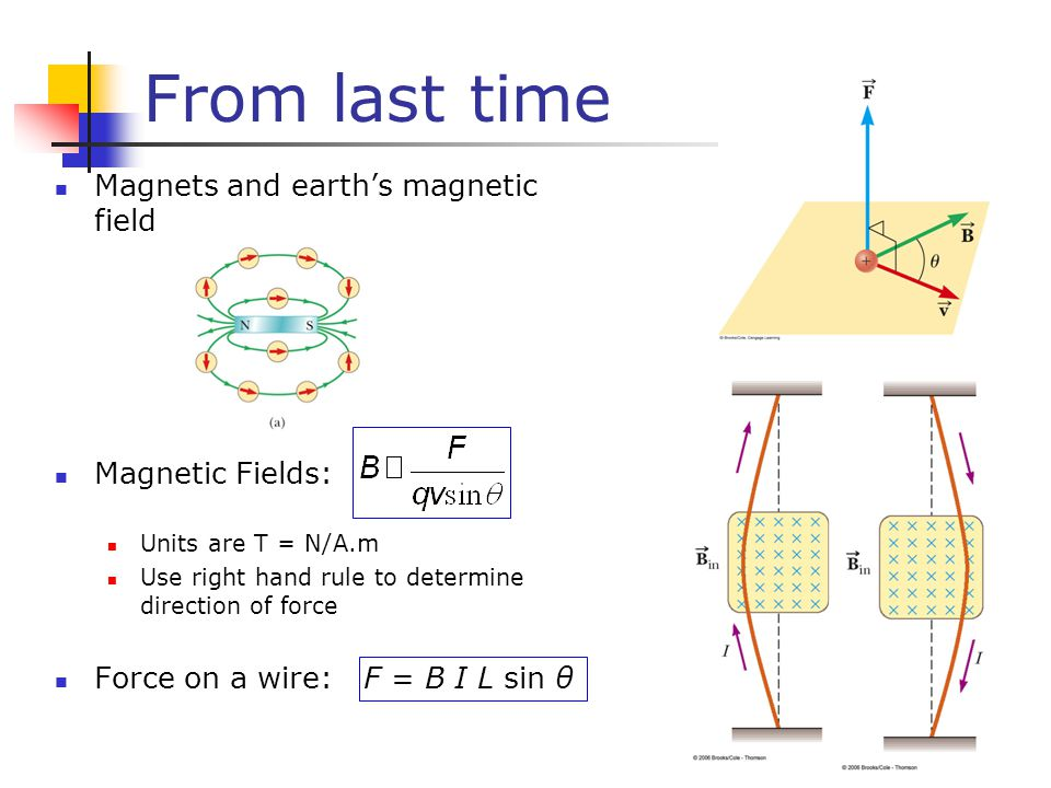 From last time Magnets and earth's magnetic field Magnetic Fields: