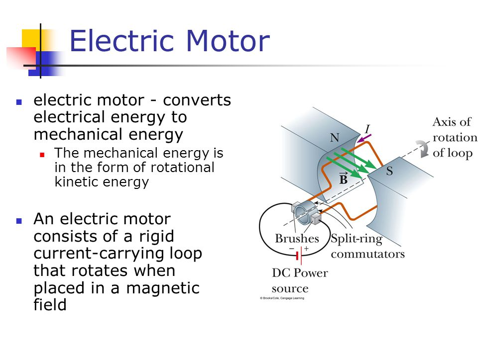 Electric Motor electric motor - converts electrical energy to mechanical energy. The mechanical energy is in the form of rotational kinetic energy.