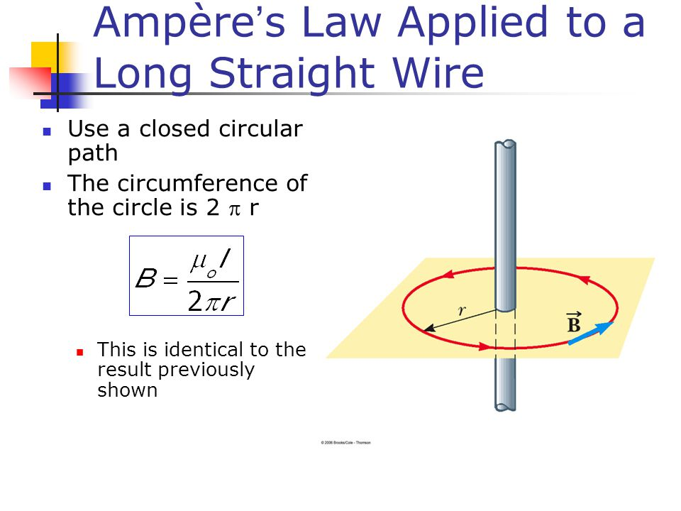 Ampère's Law Applied to a Long Straight Wire