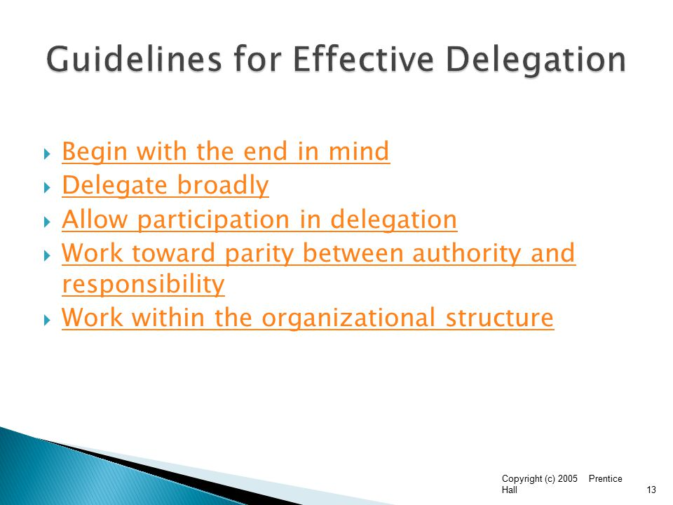 delegation within my organization essay In this paper i will be illustrating how managers in my company delegate as part  of their management responsibilities, how delegation could be used more.