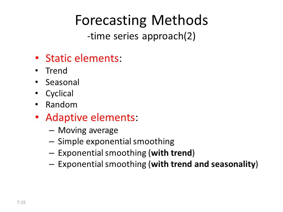 forecasting moving average and exponential smoothing The above described ability of exponential smoothing to remove spurious noise from data is more commonly used as a filter than as a forecasting method similarly, moving average and weighted moving average operators are also used more commonly for filtering than forecasting.